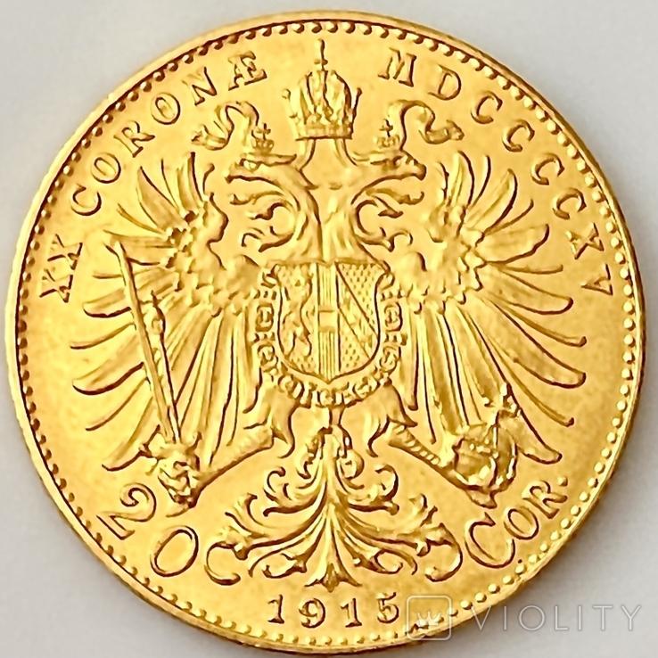 20 крон (рестрайк) 1915. Австро-Венгрия (золото 900, вес 6,78 г), фото №13