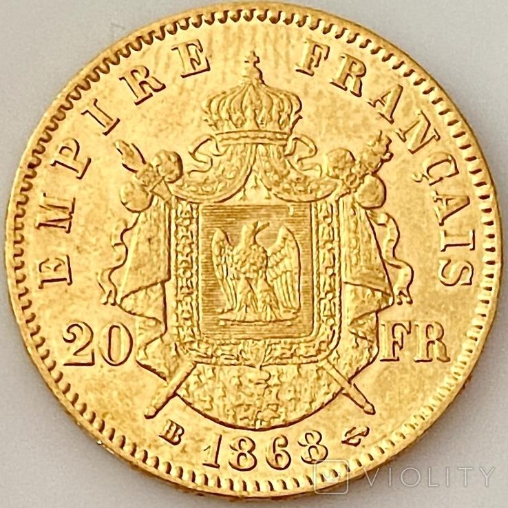 20 франков. 1868. Наполеон III. Франция (золото 900, вес 6,46 г), фото №4