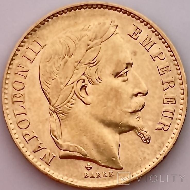 20 франков. 1868. Наполеон III. Франция (золото 900, вес 6,46 г), фото №5