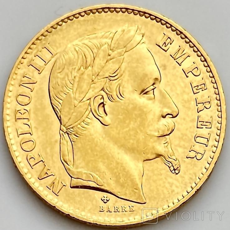 20 франков. 1868. Наполеон III. Франция (золото 900, вес 6,46 г), фото №2