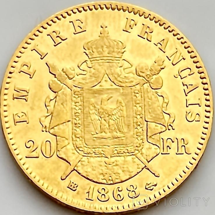 20 франков. 1868. Наполеон III. Франция (золото 900, вес 6,46 г), фото №7