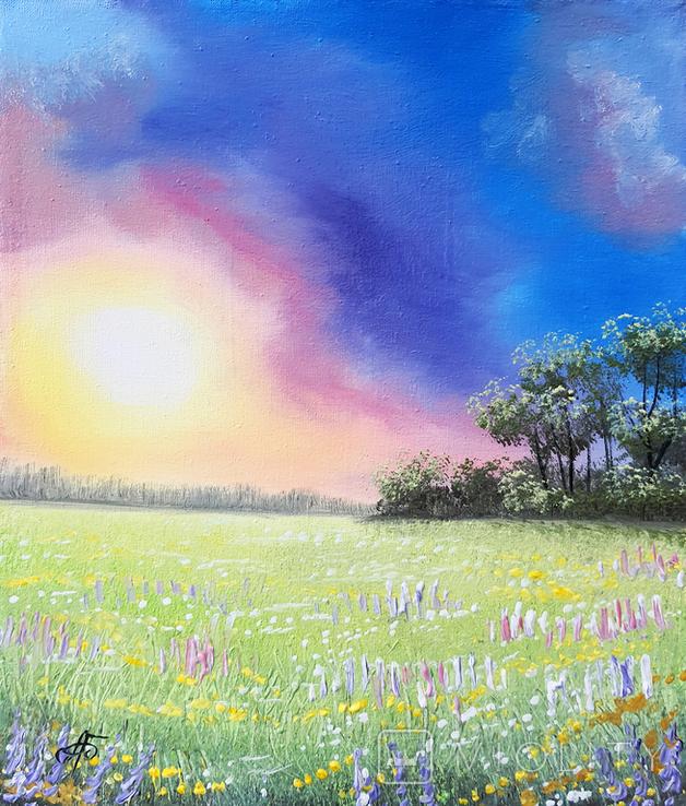 Картина, Фарби літнього вечора, 25х30 см. Живопис на полотні, фото №2