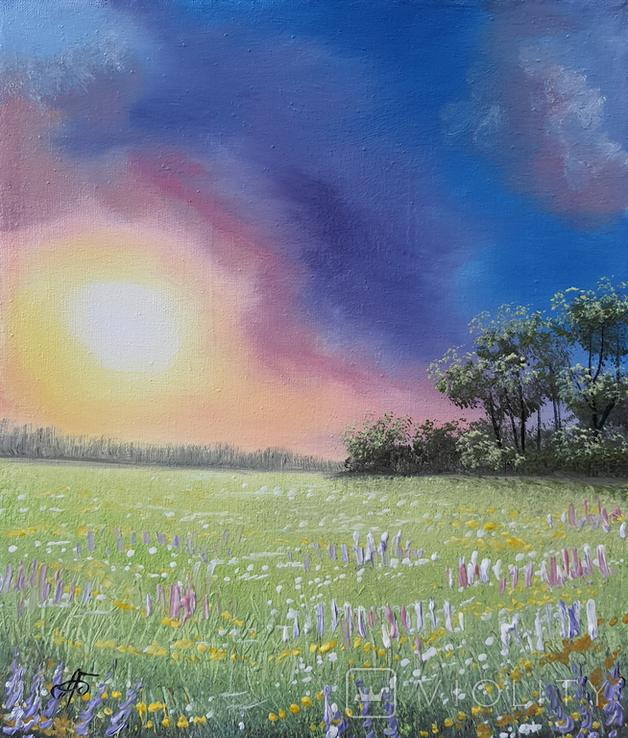 Картина, Фарби літнього вечора, 25х30 см. Живопис на полотні, фото №3