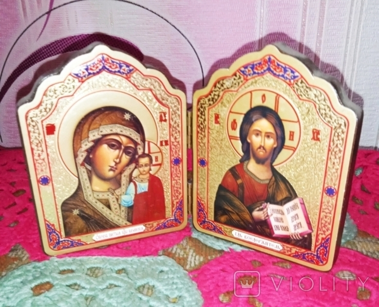 Божья матерь и Иисус складная икона, фото №4