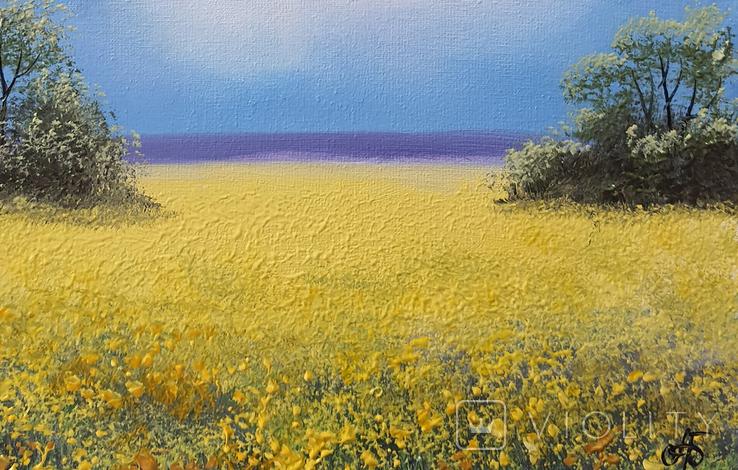 Картина, Над жовтим полем, 25х30 см. Живопис на полотні, фото №4
