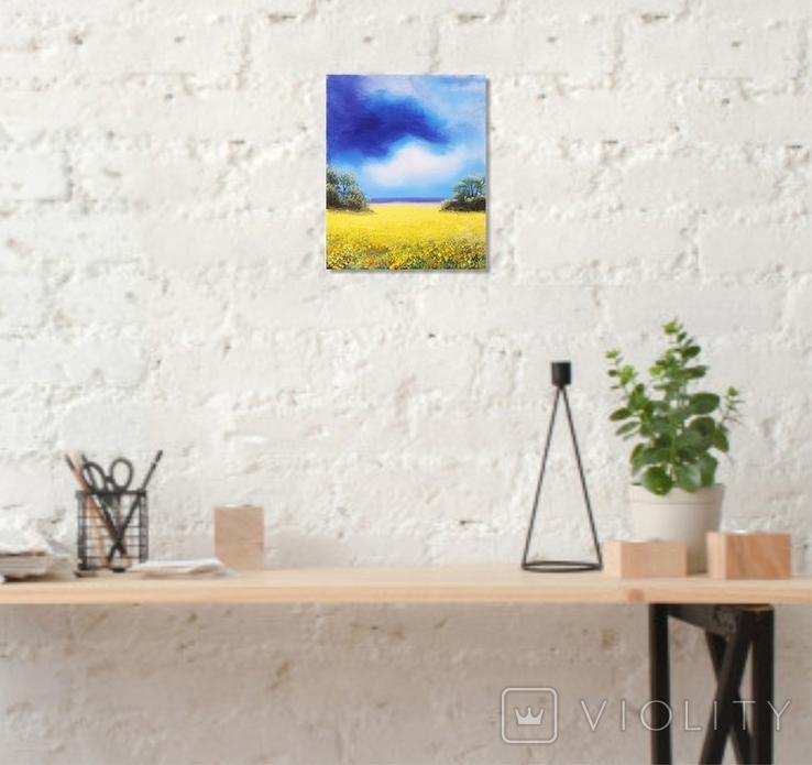Картина, Над жовтим полем, 25х30 см. Живопис на полотні, фото №5