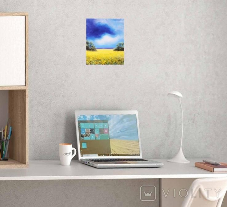 Картина, Над жовтим полем, 25х30 см. Живопис на полотні, фото №7