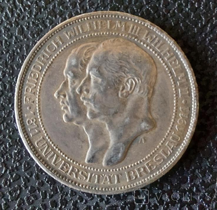 3 марки 1911 г. Пруссия (Университет Бреслау ), фото №2