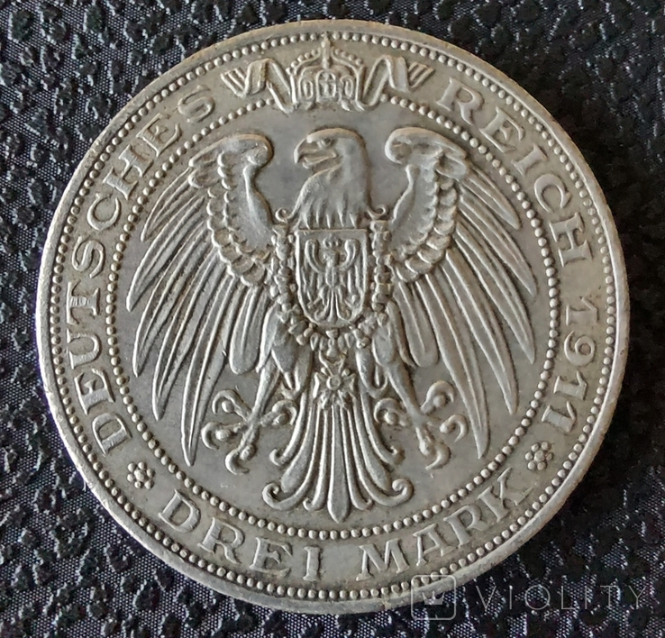 3 марки 1911 г. Пруссия (Университет Бреслау ), фото №3