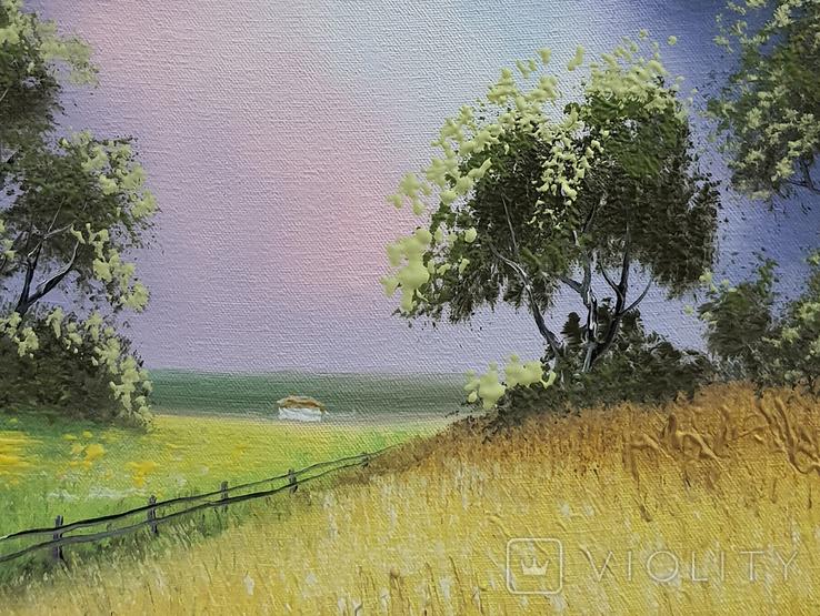 Картина, За лугом та полем, 25х30 см. Живопис на полотні, фото №4