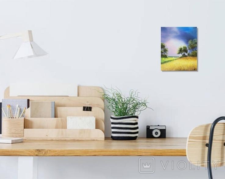 Картина, За лугом та полем, 25х30 см. Живопис на полотні, фото №5