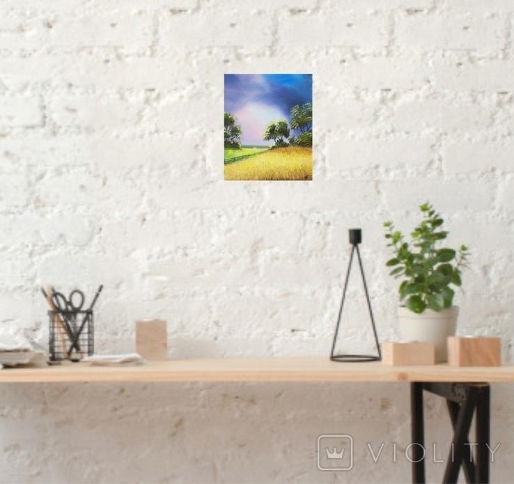 Картина, За лугом та полем, 25х30 см. Живопис на полотні, фото №6
