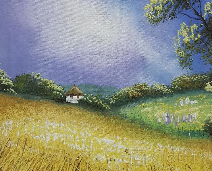 Картина, Біленька хатка, 25х30 см. Живопис на полотні, фото №4
