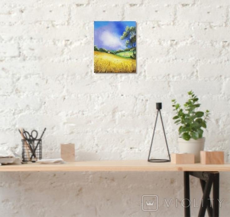 Картина, Біленька хатка, 25х30 см. Живопис на полотні, фото №5