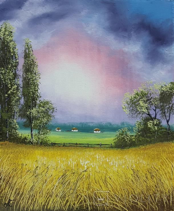 Картина, Теплий дощ, 25х30 см. Живопис на полотні, фото №3