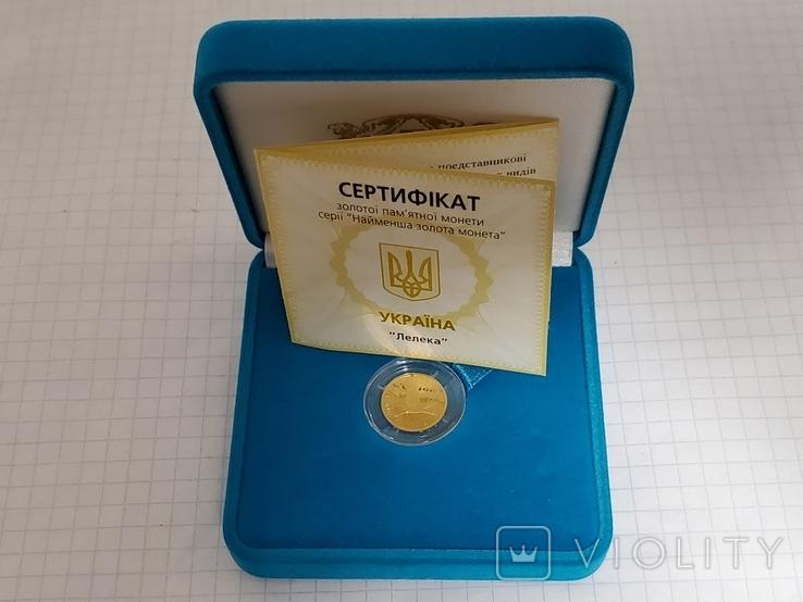 """2 гривні """"Лелека""""золото 999.9/2 гривни """"Аист"""" 2004 год.,сертификат N2927., фото №2"""