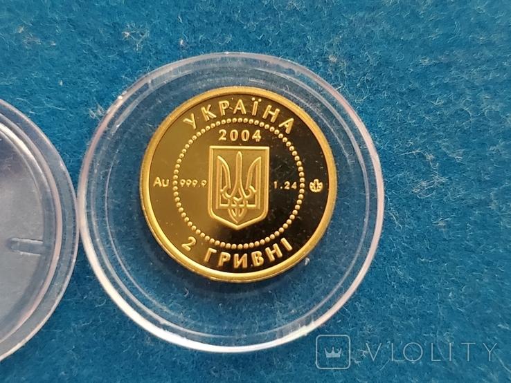 """2 гривні """"Лелека""""золото 999.9/2 гривни """"Аист"""" 2004 год.,сертификат N2927., фото №10"""
