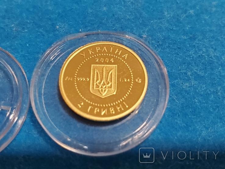 """2 гривні """"Лелека""""золото 999.9/2 гривни """"Аист"""" 2004 год.,сертификат N2927., фото №11"""
