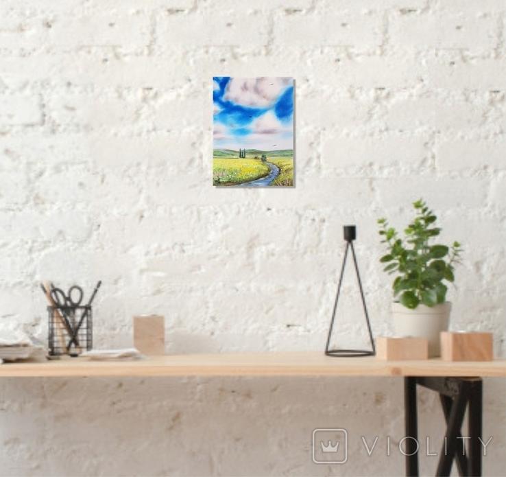Картина, Знайома далечінь, 15х20 см. Живопис на полотні, фото №5