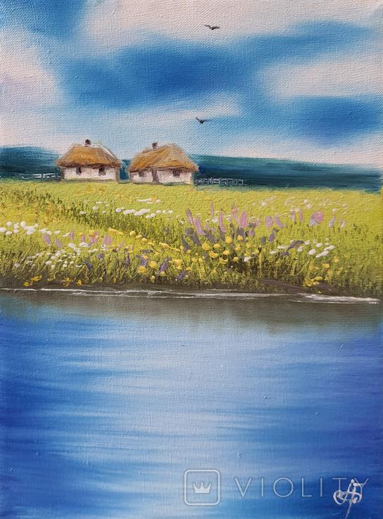 Картина, Дві хатини, 15х20 см. Живопис на полотні, фото №3