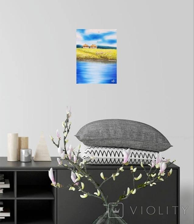 Картина, Дві хатини, 15х20 см. Живопис на полотні, фото №6