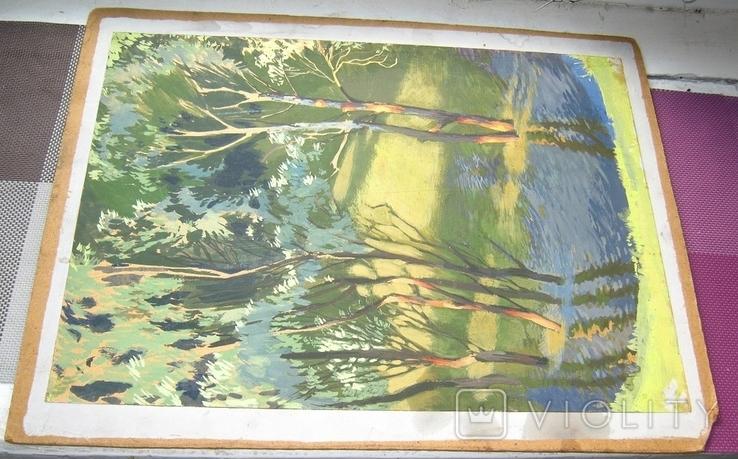Лес в весеннем разливе Гуашь Бумага 41Х30 см, фото №3