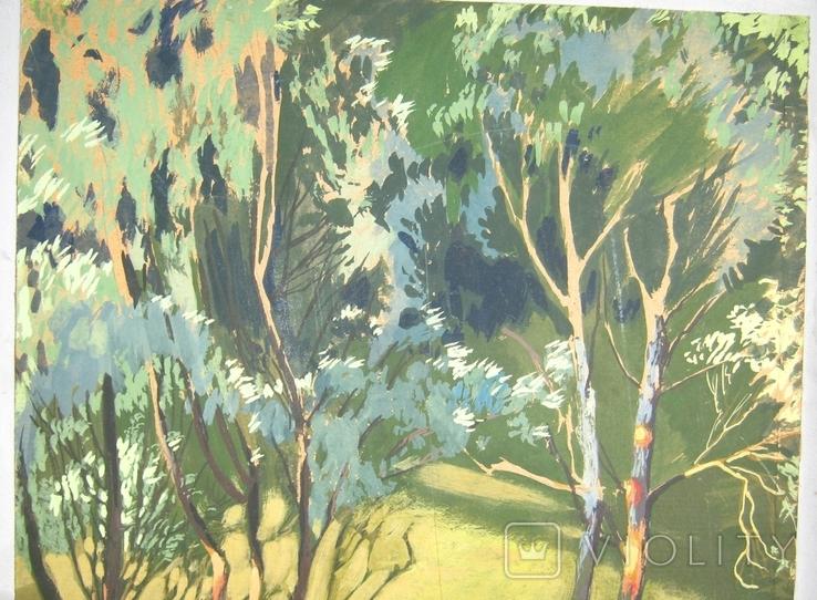 Лес в весеннем разливе Гуашь Бумага 41Х30 см, фото №4