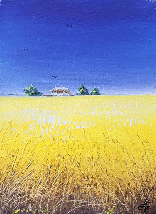 Картина, Сине небо жовте поле, 15х20 см. Живопис на полотні, фото №2