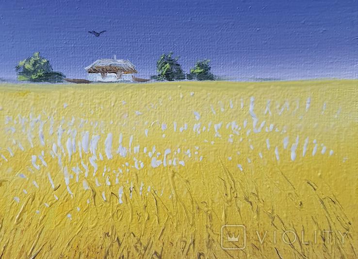 Картина, Сине небо жовте поле, 15х20 см. Живопис на полотні, фото №4