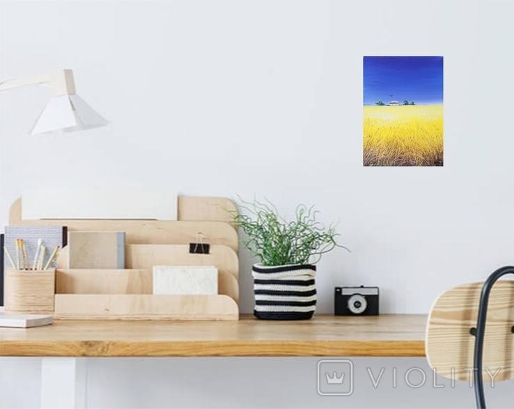 Картина, Сине небо жовте поле, 15х20 см. Живопис на полотні, фото №6