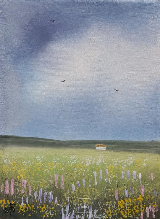 Картина, М'які відтінки літа, 15х20 см. Живопис на полотні, фото №3