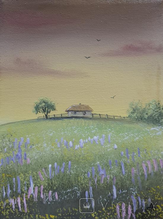 Картина, Вечоріє, 15х20 см. Живопис на полотні, фото №3