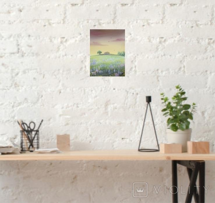 Картина, Вечоріє, 15х20 см. Живопис на полотні, фото №6