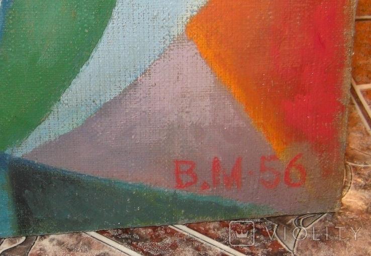 Абстракция Подписана 1956 Масло Холст на подрамнике 62Х47 см, фото №4