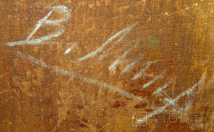 Абстракция Подписана 1956 Масло Холст на подрамнике 62Х47 см, фото №6