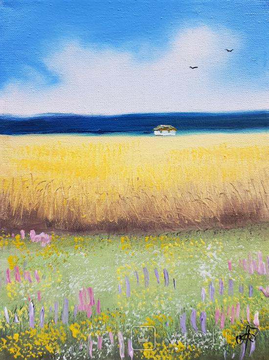 Картина, Український краєвид, 15х20 см. Живопис на полотні, фото №2