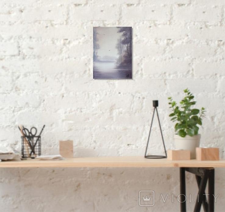 Картина, Туманний ранок, 15х20 см. Живопис на полотні, фото №5