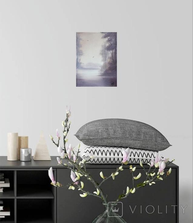 Картина, Туманний ранок, 15х20 см. Живопис на полотні, фото №6