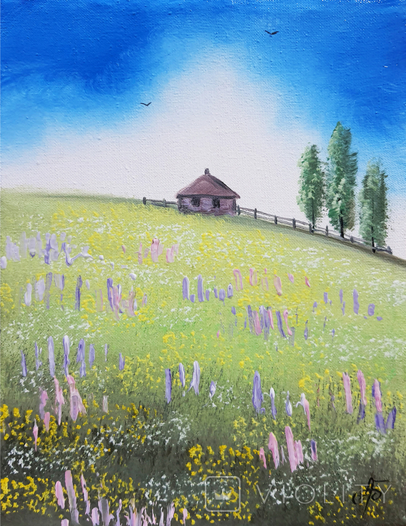 Картина, Хатина на пагорбі, 15х20 см. Живопис на полотні, фото №2