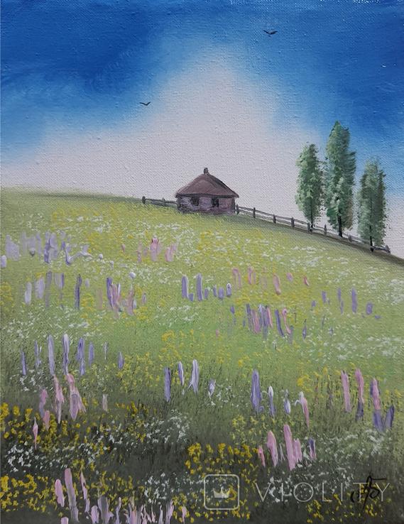 Картина, Хатина на пагорбі, 15х20 см. Живопис на полотні, фото №3