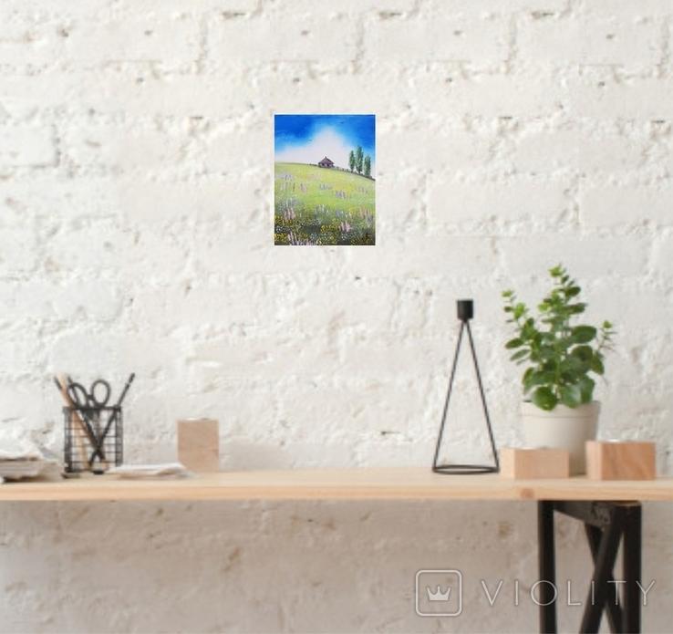 Картина, Хатина на пагорбі, 15х20 см. Живопис на полотні, фото №6