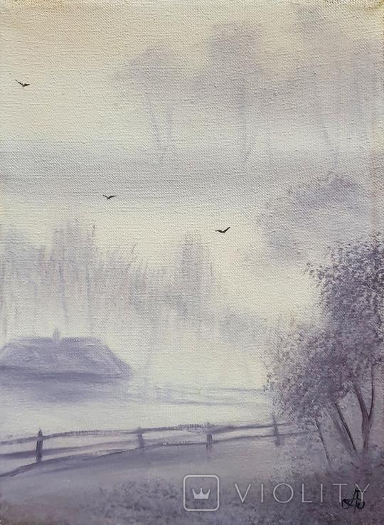 Картина, Ранок у селі, 15х20 см. Живопис на полотні, фото №2