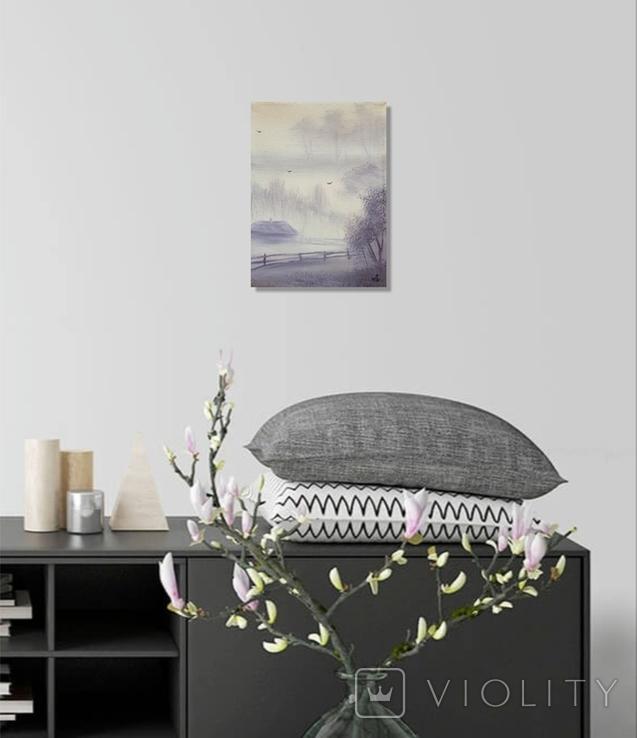 Картина, Ранок у селі, 15х20 см. Живопис на полотні, фото №6