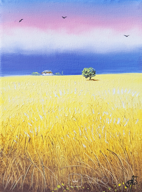 Картина, Золотистий урожай, 15х20 см. Живопис на полотні, фото №2