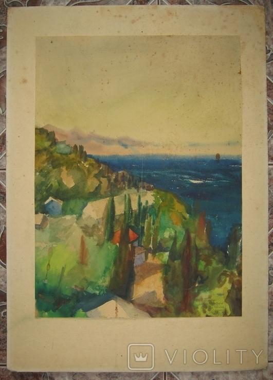 """Крым """"Кристалл"""" июнь 1973 Подписана Акварель 33Х46 см, фото №2"""