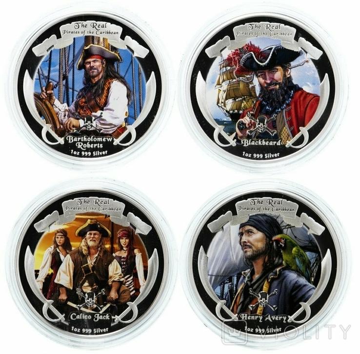 Набор монет Пираты Карибских морей, 4 х 1oz, фото №2