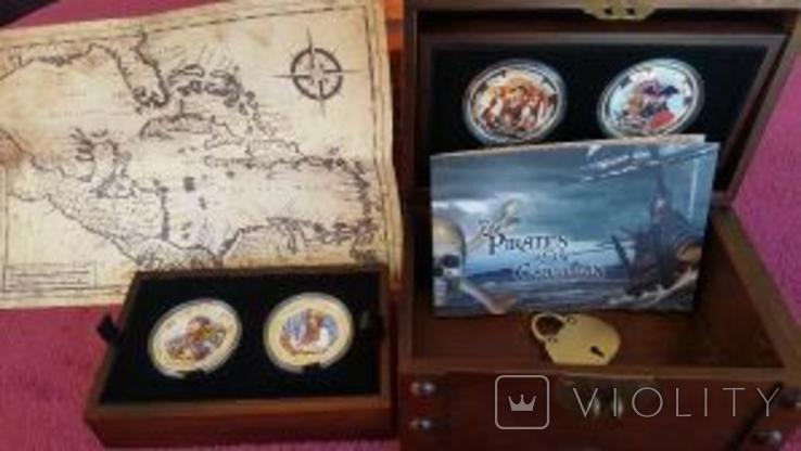 Набор монет Пираты Карибских морей, 4 х 1oz, фото №5