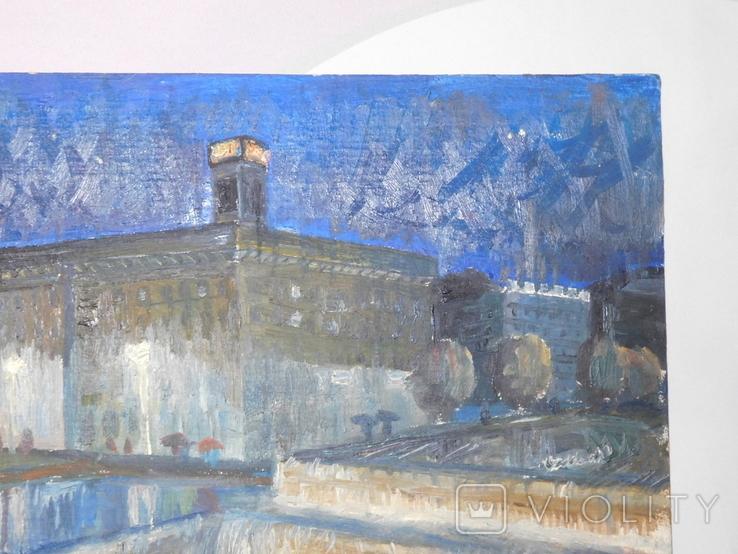 Дом профсоюза. Худ. Скляр А. Картон, масло. Размер 32,5х43,5 см., фото №4