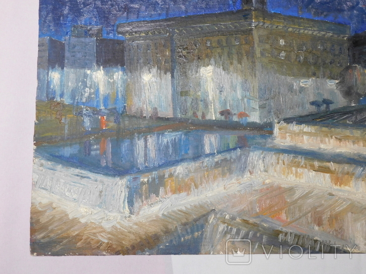 Дом профсоюза. Худ. Скляр А. Картон, масло. Размер 32,5х43,5 см., фото №5