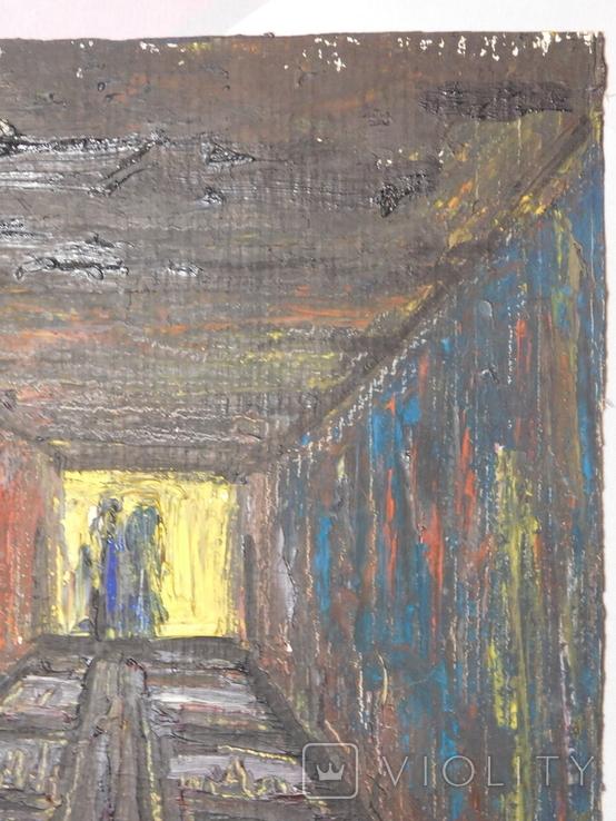 Тунель. Худ. Скляр А. Картон, масло. Размер 30х40 см., фото №4